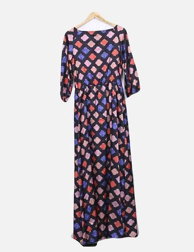 Maxi vestido estampado satinado con abertura