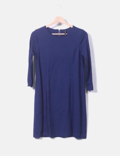 Vestido manga larga azul marino