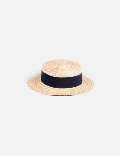 Chapéu de ráfia combinado preto H&M