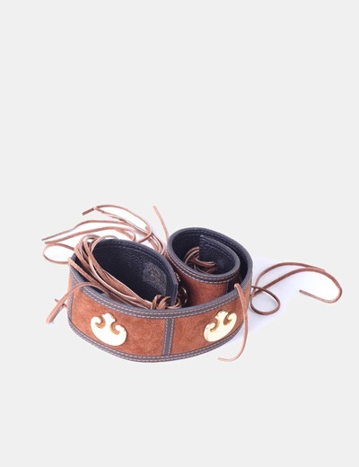 Cinturón antelina con flecos marrón NoName