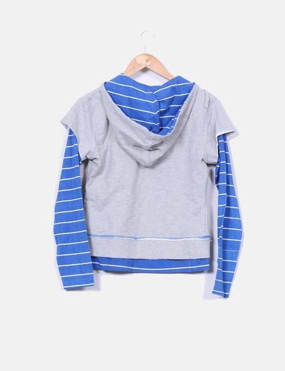 Sudadera gris efecto camiseta