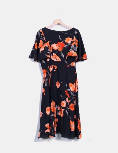 Vestido negro con flores naranjas