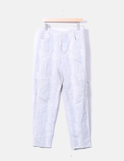 Pantalón blanco print gris