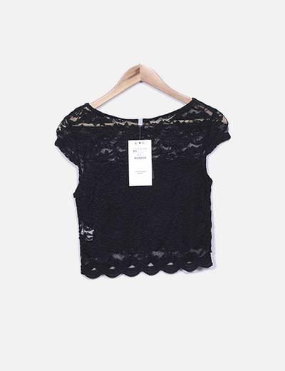 nuevos productos para muchas opciones de al por mayor Blusa de encaje negra