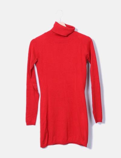 Camisola longa vermelha com gola virada