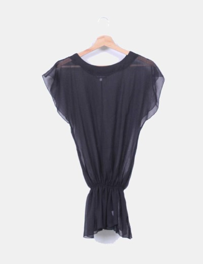 Blusa peplum negra semitransparente New Saks Woman