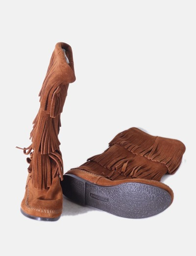 Botas de ante camel 3 layer con flecos