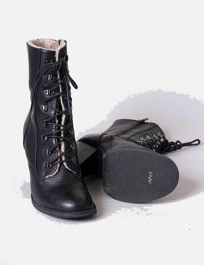05daee0c6 NoName Botines negros de tacón con cordones y borrego (descuento 81%) -  Micolet