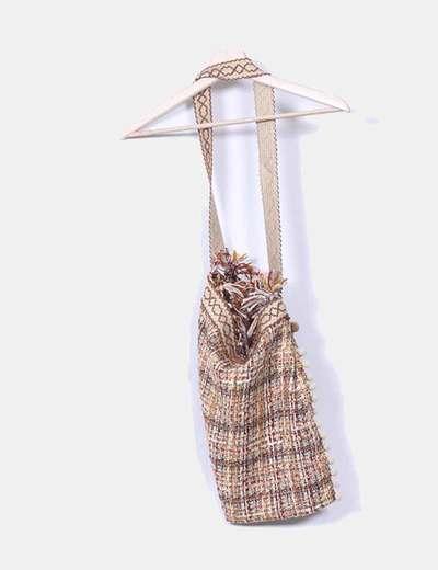 Bolso tweed camel con borlas NoName