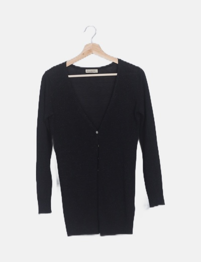 Chaqueta tricot negra detalles glitter