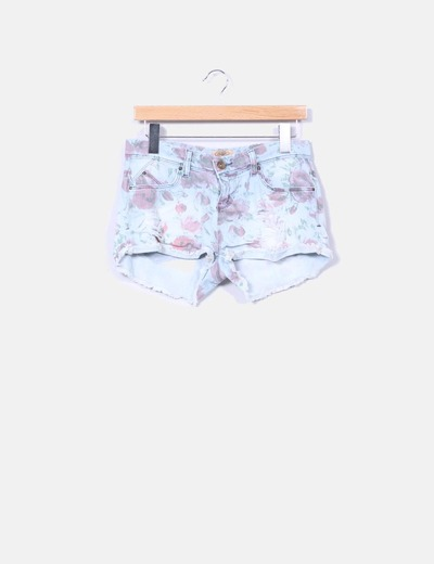 Shorts jeans estampado floral  Bershka