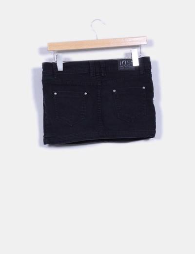 Falda negra demin efecto desgastada