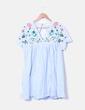 Vestido / macacão azul bordado floral Kilky