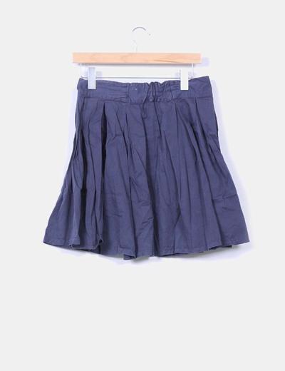 Falda azul marina abotonada