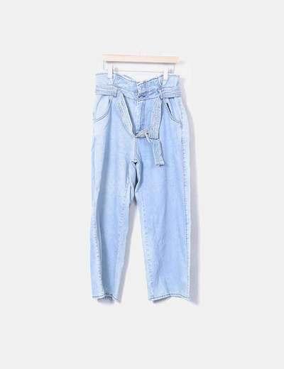 Jeans denim culotte tiro alto