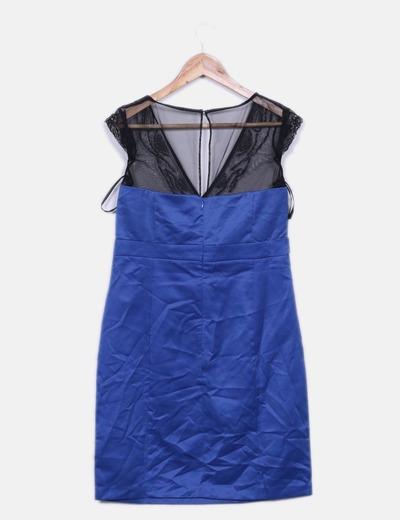 Vestido azul con malla y abalorios