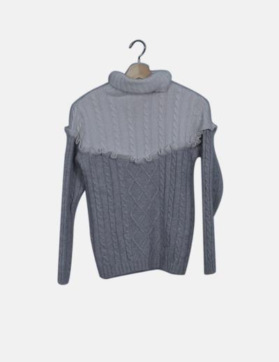 Jersey de punto cuello vuelto bicolor