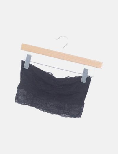 Bandana encaje negro drapeado
