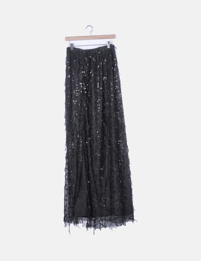 Conjunto falda y chal negro flecos lentejuelas