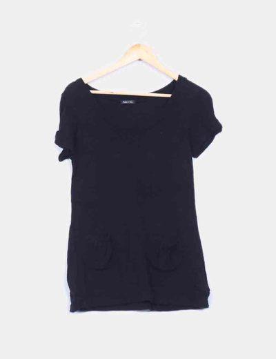 Top tricot negro con bolsillos Made in Italy