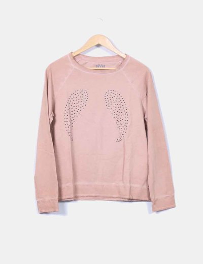 Sudadera nude con tachas Cotton Crown