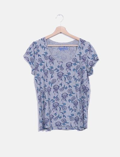 Camiseta gris print atrapasueños Primark