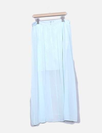 Falda de gasa mint con encaje