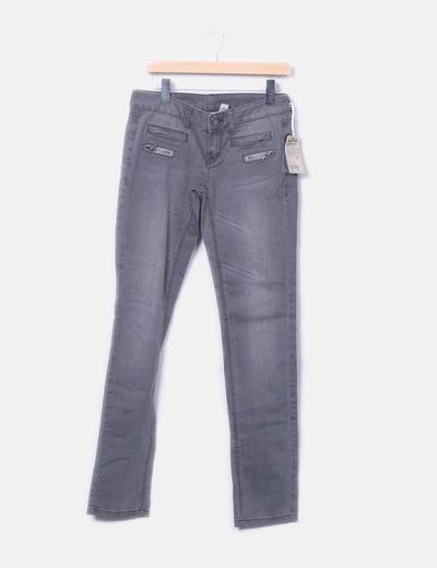 Pantalón denim gris cremalleras