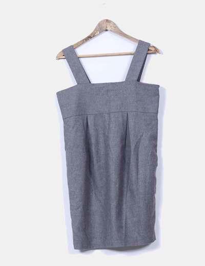 Vestido mini gris de tirantes con escote cuadrado H&M