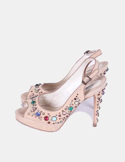 Zapato beige destalonado con piedras de colores Brianatwood