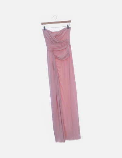 Vestido rosa fluido palabra de honor