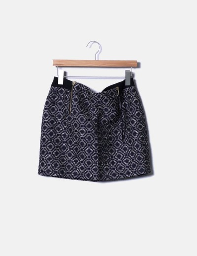 Falda midi texturizada estampada Sfera