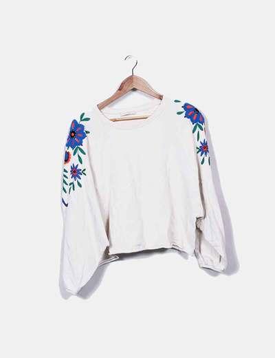 Sweat-shirt beige floral Zara