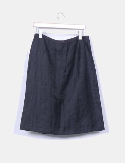 Falda midi negra texturizada bordados verdes