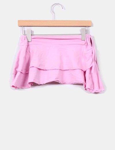 Mini falda avolantada rosa