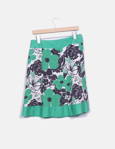 Falda lino verde estampada