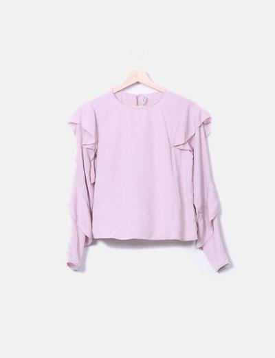 Blusa rosa con volantes