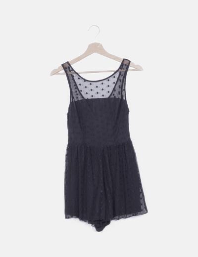 Vestido mini negro moteado