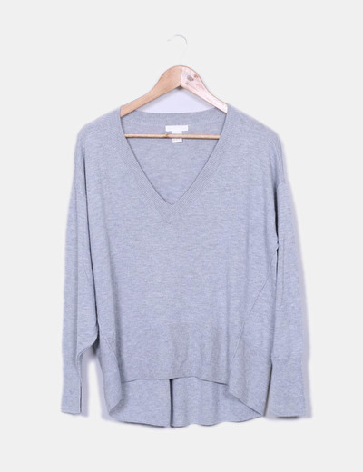 Camisa cinza oversize, decote de pico H&M