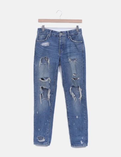 Jeans denim slim boyfriend con rotos