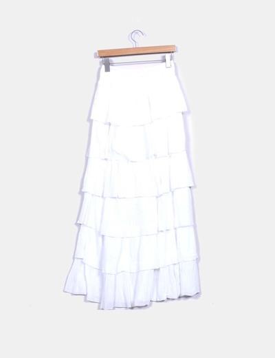 NoName Falda larga blanca volantes (descuento 61%) - Micolet cca976a0e1e