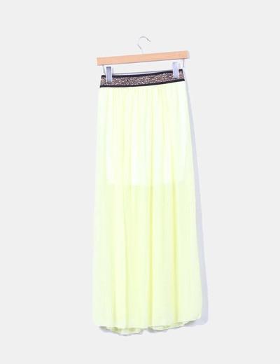 Maxi falda amarilla con strass