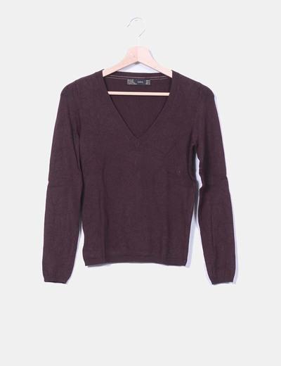 Jersey marrón cuello pico Zara