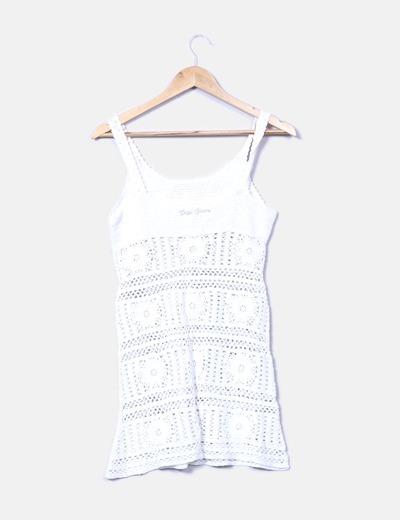 Vestido tirantes crochet blanco