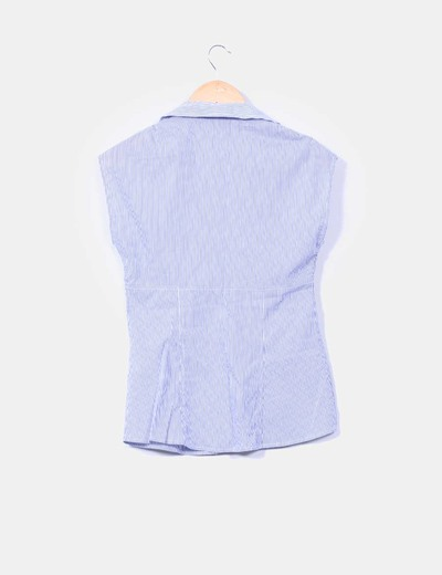 Camisa azul de rayas sin mangas