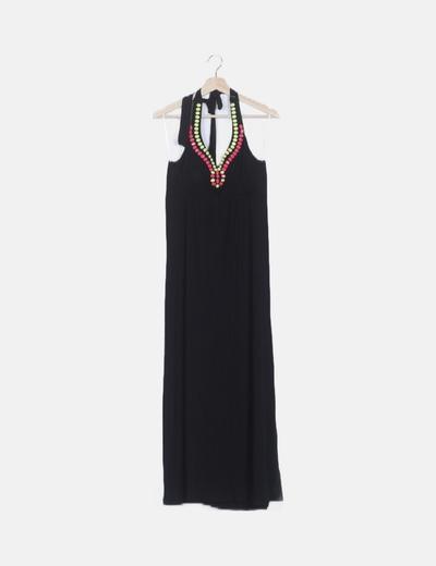 Maxi vestido negro abalorios