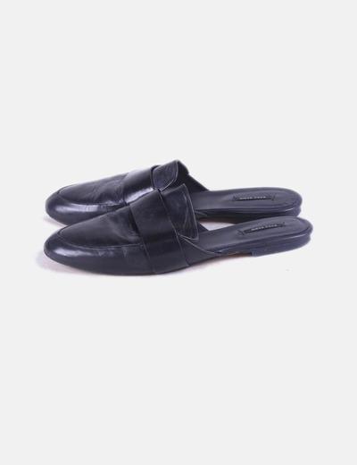 Mules cuero negro Zara