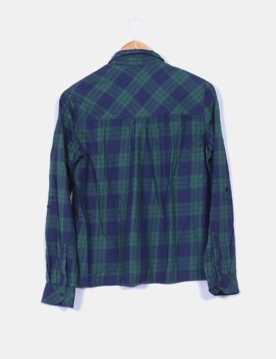 Camisa cuadros verdes y azules
