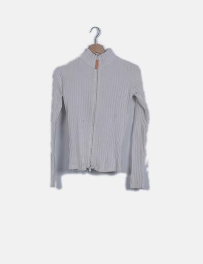 Chaqueta tricot blanca cremallera