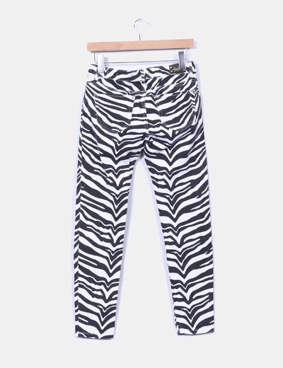 Jeans denim slim fit print cebra